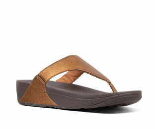 FitFlop Womens LULU Metallic Leather Toe-Thongs Bronze Sandals